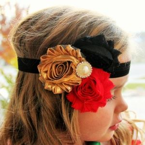 Other - Gold Red Black Shabby Chic Headband